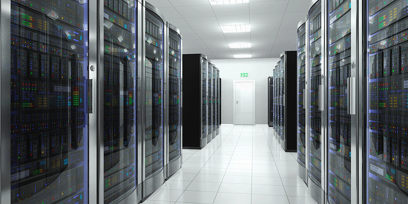 A large server room with air conditioning