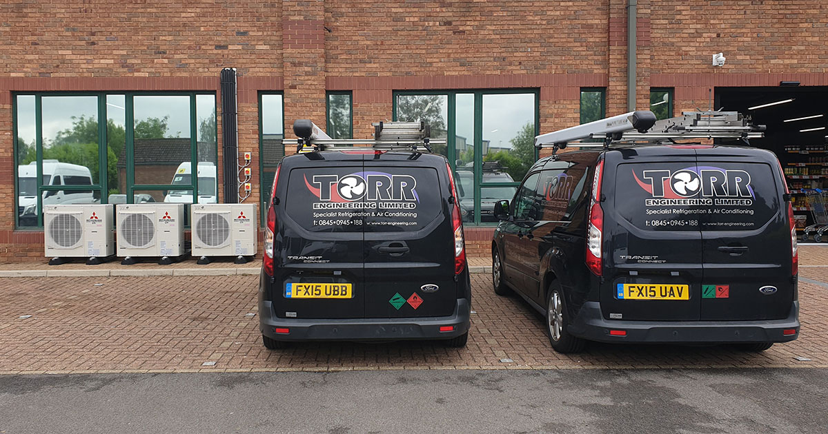 Torr Engineering installing new air conditioning at the Campus & Co shop in Scunthorpe