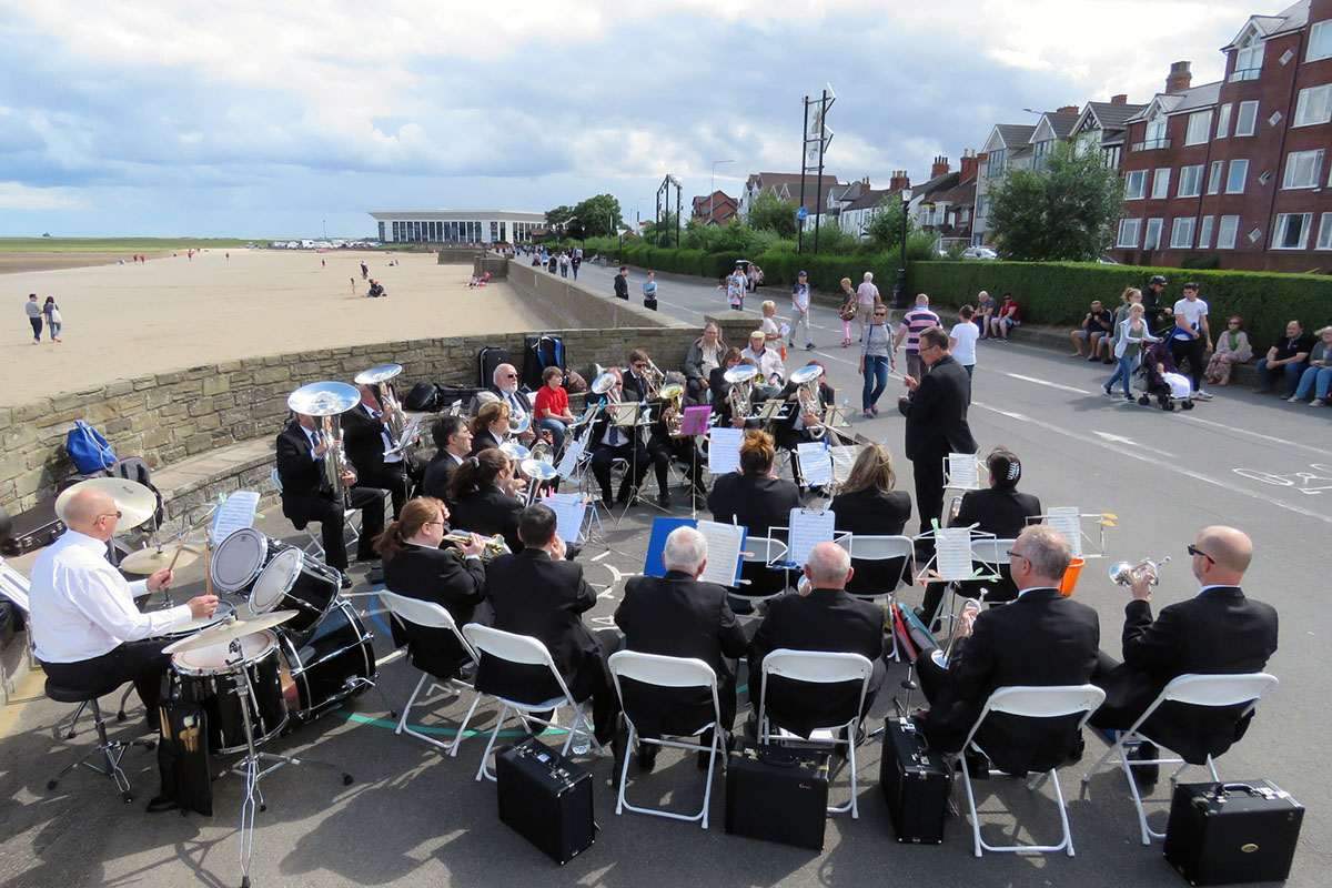 Cleethorpes Brass Band playing on Cleethorpes sea front
